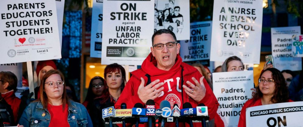 PHOTO: Chicago Teachers Union President Jesse Sharkey speaks outside Peirce Elementary School on the first day of a strike, Oct. 17, 2019 in Chicago.