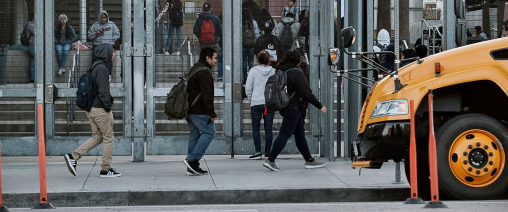 PHOTO: Students return to school at the Miguel Contreras Learning Complex High School, Jan. 23, 2019, in downtown Los Angeles.