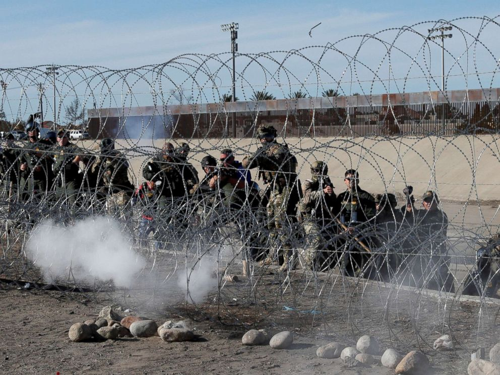 United States  border agents pushed Migrants back with tear gas and rubber bullets