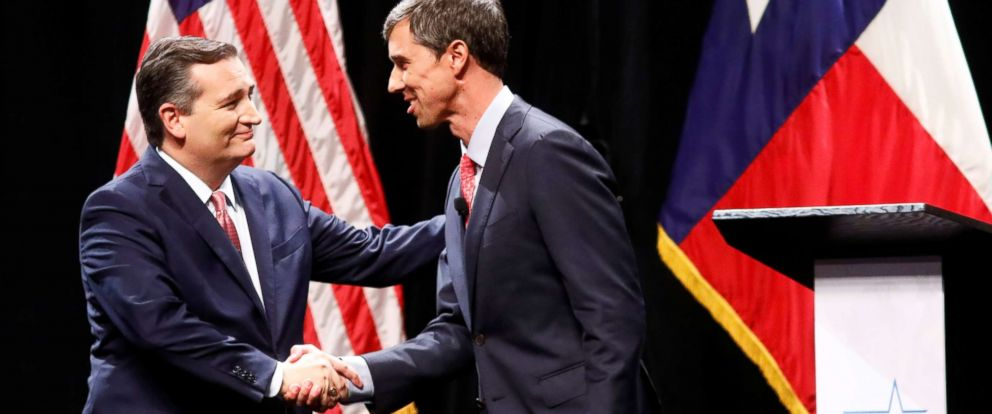 PHOTO: Sen. Ted Cruz and Rep. Beto ORourke shake hands after a debate for the Texas Senate seat at the Southern Methodist University in Dallas, Sept. 21, 2018.