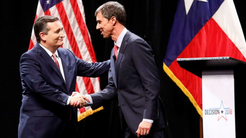 Sen. Ted Cruz and Rep. Beto O'Rourke shake hands after a debate for the Texas Senate seat at the Southern Methodist University in Dallas, Sept. 21, 2018.