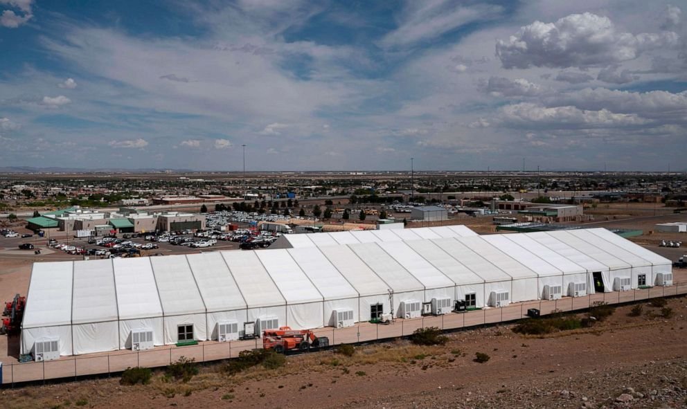 PHOTO: Construction of a new migrant processing facility is underway at the Customs and Border Protection - El Paso Border Patrol Station on the east side of El Paso on April 26, 2019.