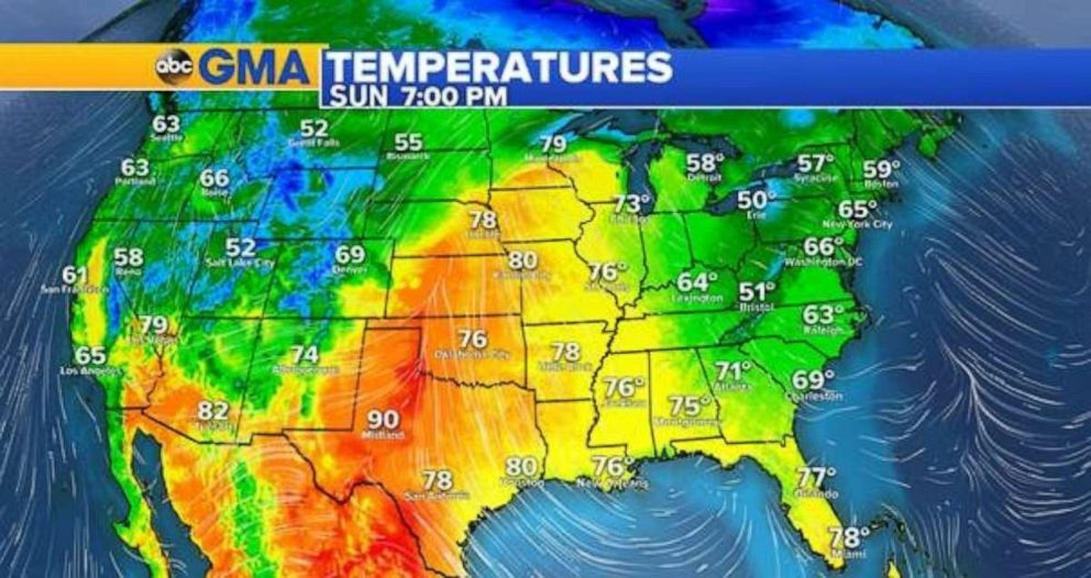 PHOTO: The warmest temperatures on Sunday will be in Texas and north into the Plains.
