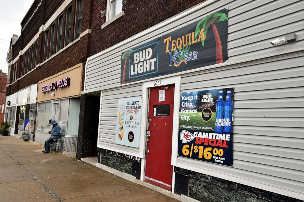 PHOTO: A general view of the entrance to Tequila KC Bar in Kansas City, Kansas, where four people were shot to death and five others were wounded on Oct. 6, 2019.