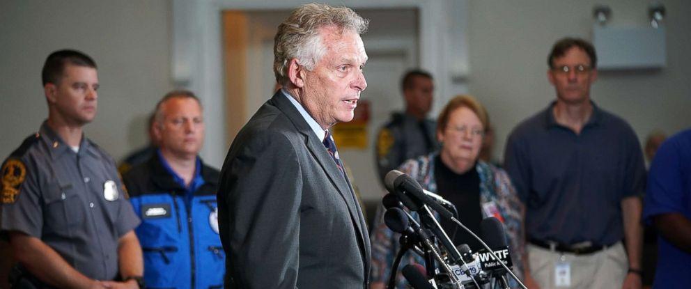 PHOTO: Virginia Gov. Terry McAuliffe speaks during a press conference, Aug. 12, 2017, in Charlottesville, Virginia.