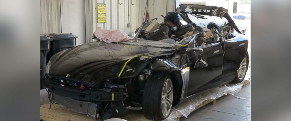 PHOTO: An NTSB photo showing the damage to the left front of the Tesla involved in a 2016 crash in Florida.