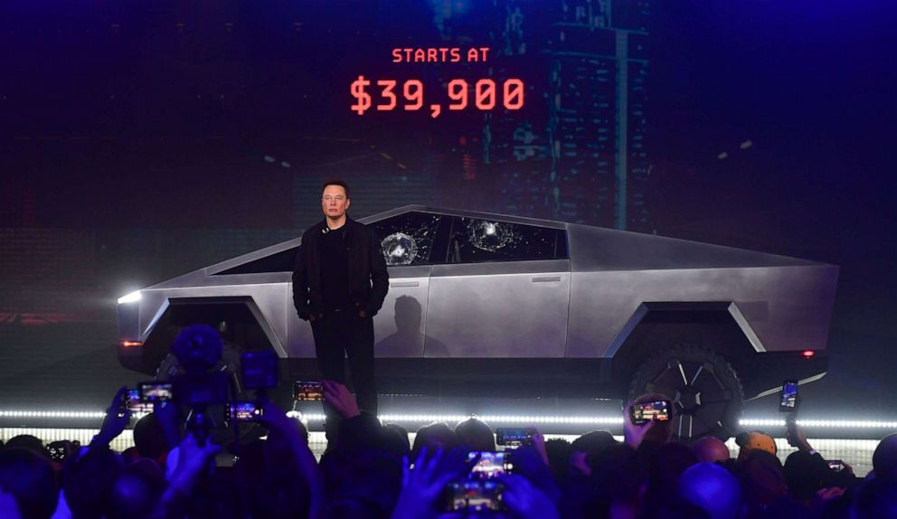 PHOTO: Tesla co-founder and CEO Elon Musk stands in front of the newly unveiled all-electric battery-powered Teslas Cybertruck at Tesla Design Center in Hawthorne, Calif., on Nov. 21, 2019.