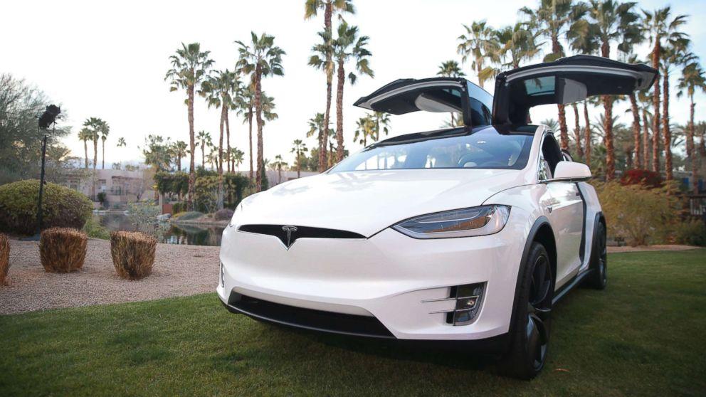 A Tesla Model X is displayed during the Citi Taste of Tennis at Hyatt Regency Indian Wells Resort & Spa on March 5, 2018 in Indian Wells, Calif.