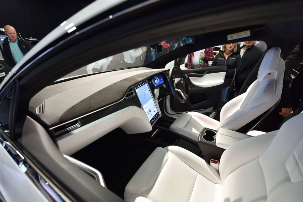 PHOTO: The interior of a Tesla Model X on display at the London Motor Show at Battersea Evolution on May 4, 2017 in London.