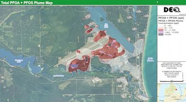 PHOTO: A map shows the results of testing around Oscoda
