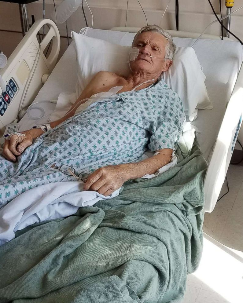 Tex Gilligan, 74, of New Mexico is treated at the University Medical Center of El Paso in Texas after he was shot when his dog Charlie accidentally triggered a gun in the back of his pickup truck while on a hunting trip in the desert near Las Cruces.