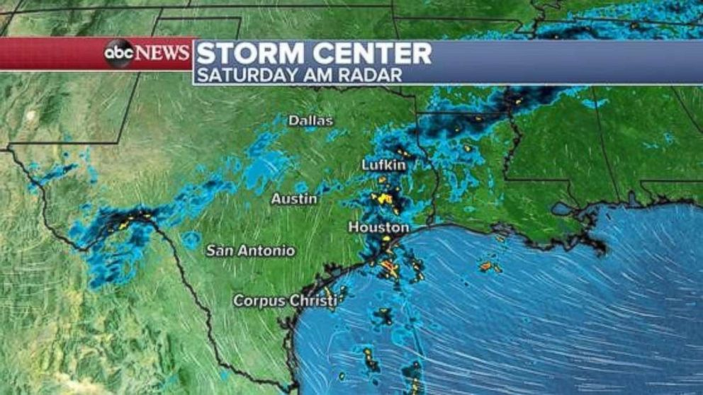 Locally heavy showers are possible in southeast Texas on Saturday.