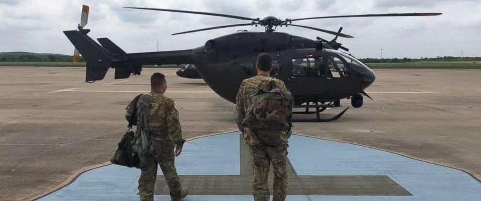 PHOTO: Soldiers from 36th Combat Aviation Brigade, 36th Infantry Division, prepare to deploy to the border between Texas and Mexico, April 6, 2018.