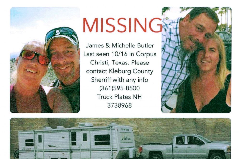 PHOTO: This poster released by the Kleberg County Sheriffs Office in Kingsville, Texas, shows James and Michelle Butler, of Rumney, N.H.