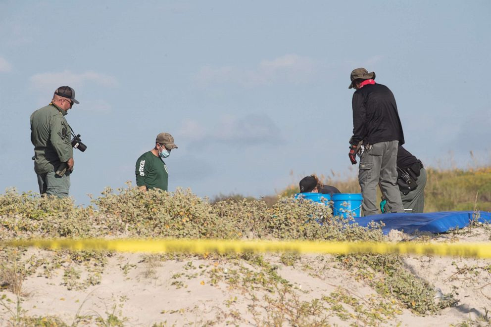 PHOTO: Several state agencies conduct an investigation on Padre Island beach in Kleberg County near mile marker 263 after human remains where found on Monday, Oct. 28, 2019.