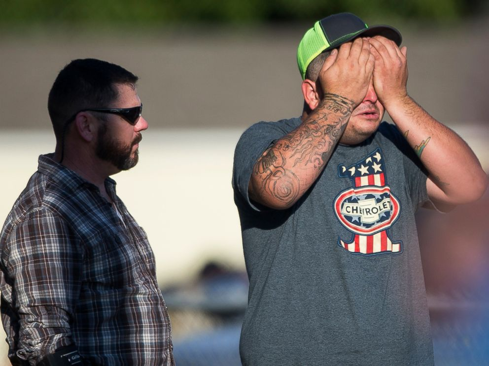 PHOTO: A man wipes his eyes after a deadly shooting at the First Baptist Church in Sutherland Springs, Texas, Nov. 5, 2017.