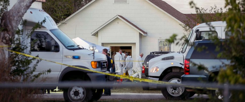 PHOTO: Investigators work at the scene of a mass shooting at the First Baptist Church in Sutherland Springs, Texas, Nov. 5, 2017.