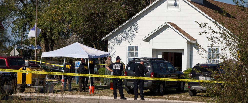 PHOTO: Law enforcement officials works at the scene of a fatal shooting at the First Baptist Church in Sutherland Springs, Texas, Nov. 5, 2017.