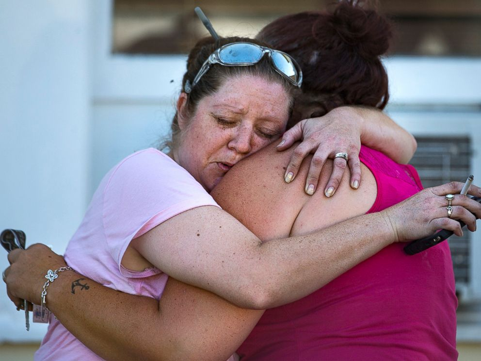PHOTO: Carrie Matula embraces a woman after a fatal shooting at the First Baptist Church in Sutherland Springs, Texas, Nov. 5, 2017.