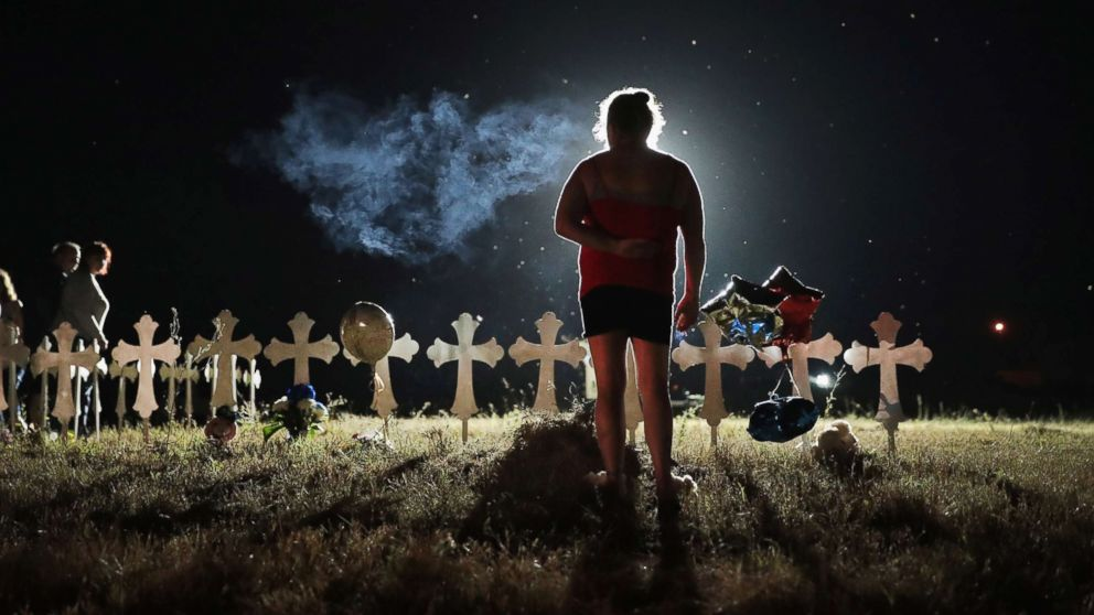 Twenty-six crosses stand in a field on the edge of town to honor the victims killed at the First Baptist Church of Sutherland Springs, Nov. 6, 2017, in Sutherland Springs, Texas.