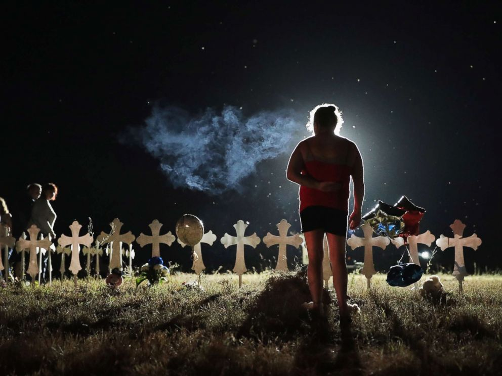 PHOTO: Twenty-six crosses stand in a field on the edge of town to honor the victims killed at the First Baptist Church of Sutherland Springs, Nov. 6, 2017 in Sutherland Springs, Texas.