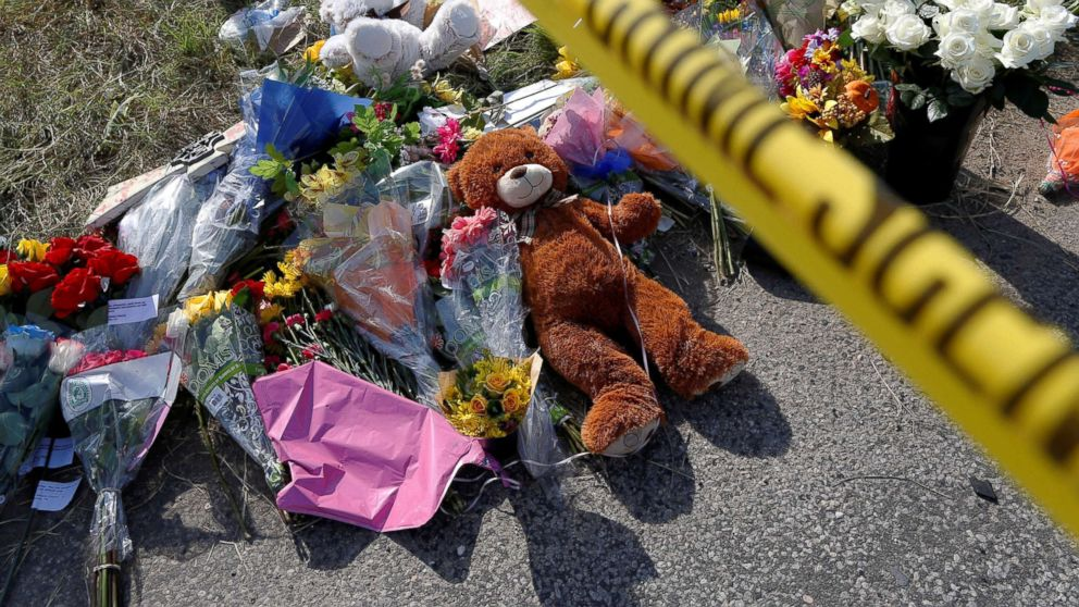 Flowers and stuffed animals placed near the site of the shooting at the First Baptist Church of Sutherland Springs, Texas, Nov. 7, 2017.
