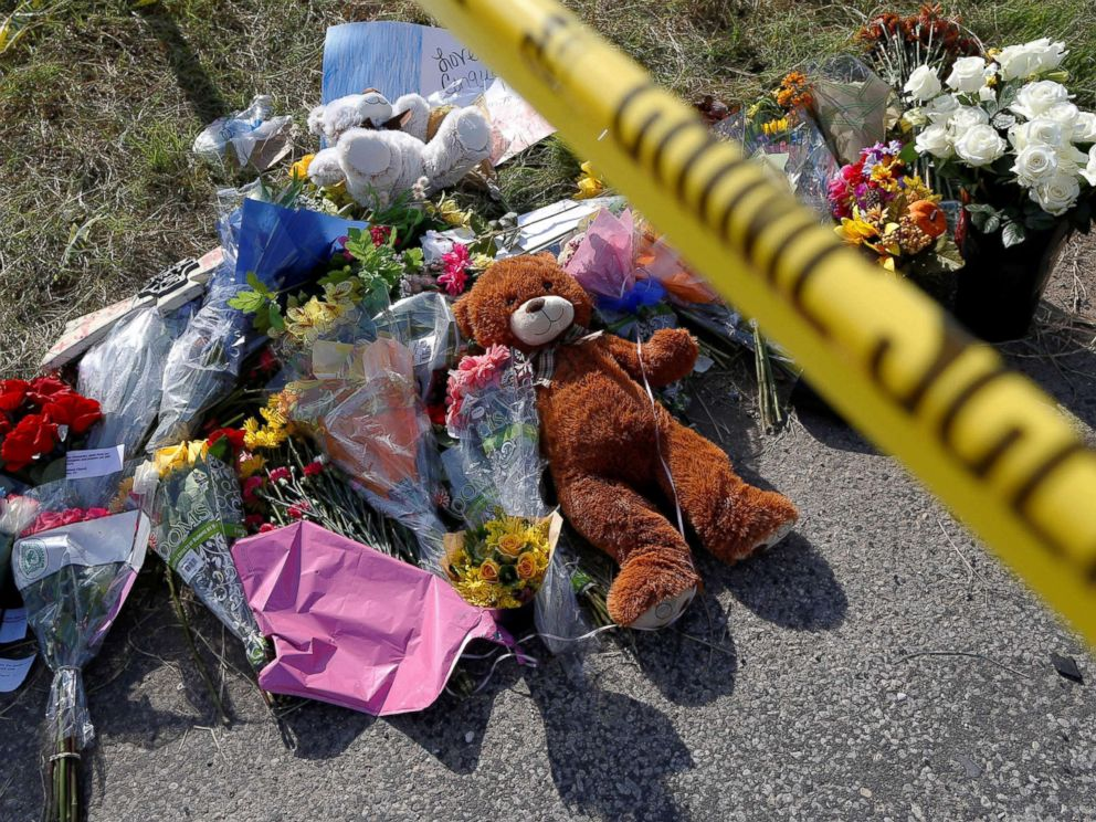 PHOTO: Flowers and stuffed animals placed near the site of the shooting at the First Baptist Church of Sutherland Springs, Texas, Nov. 7, 2017.