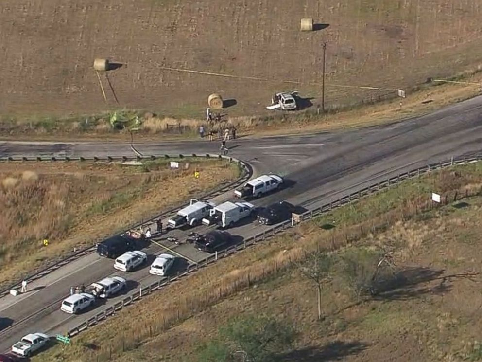 PHOTO: Police vehicles gather at the scene of the SUV where the suspected shooter who opened fire at First Baptist Church of Sutherland Springs, Texas, drove off the road and was found dead on Nov. 5, 2017.