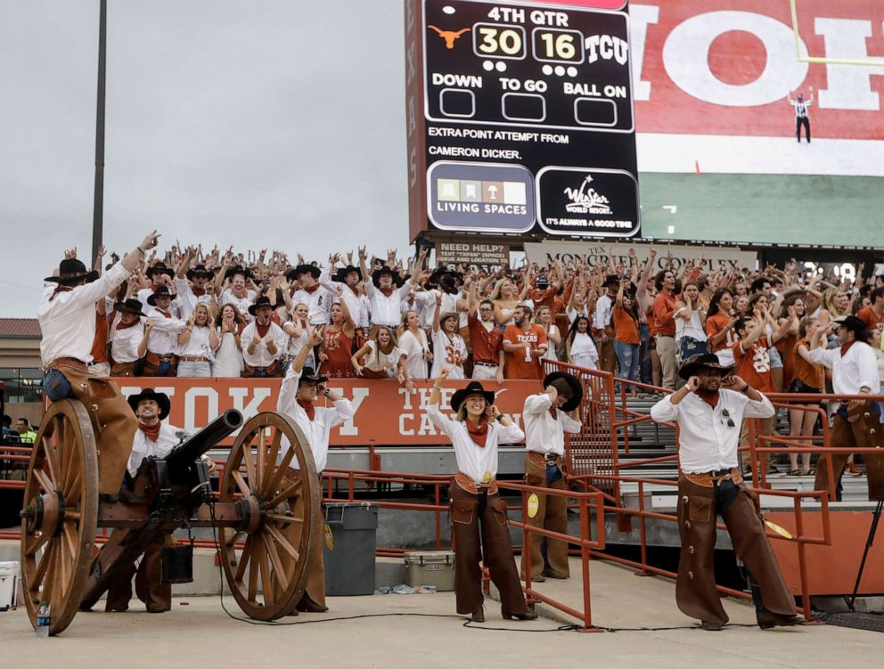 The Texas Cowboys prepare to fire Smokey the Cannon after a touchdown in the second half against the TCU Horned Frogs at Darrell K Royal-Texas Memorial Stadium in this Sept. 22, 2018 file photo in Austin, Texas.