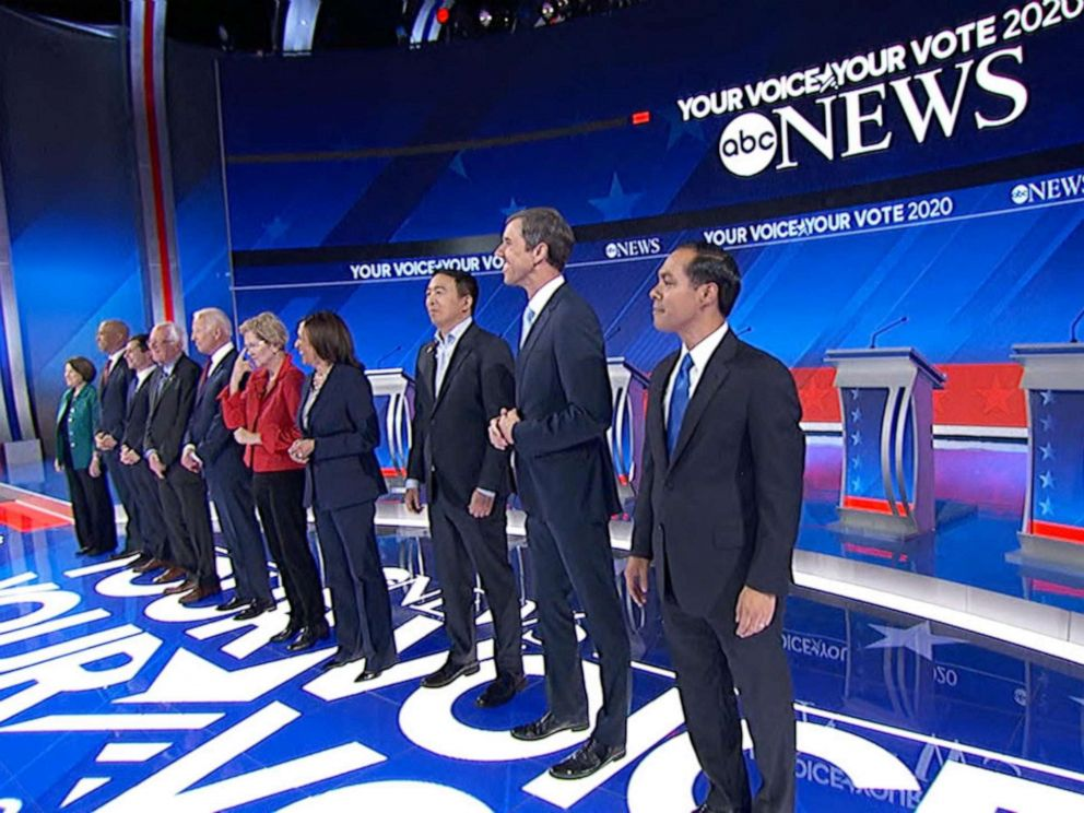 PHOTO: Democratic presidential candidates stand on stage for the third debate of the 2020 Presidential Campaign season in Houston, Sept. 12, 2019.