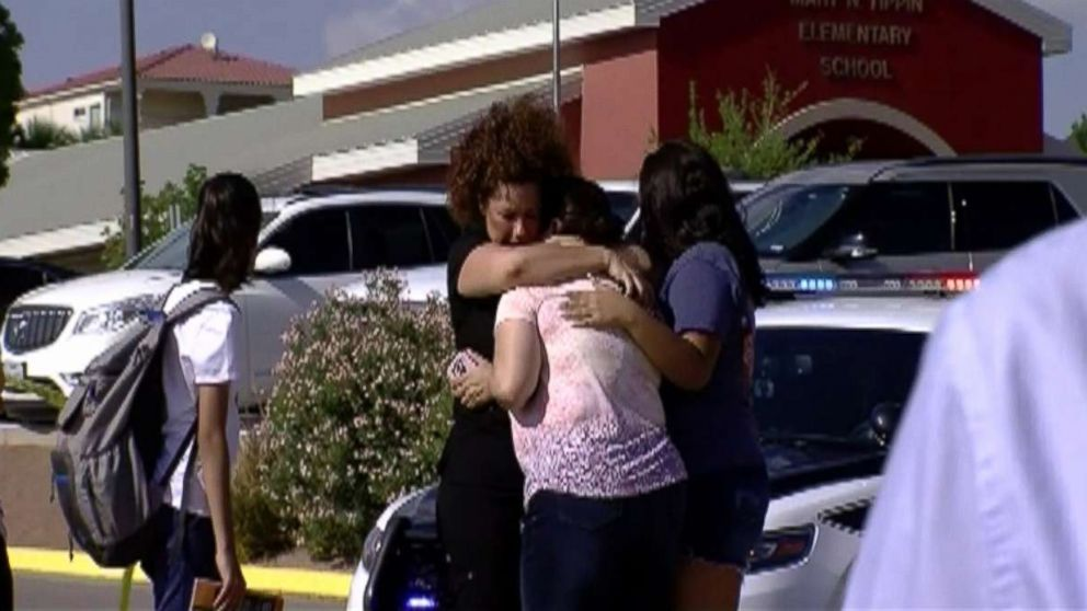 A mother was struck and killed by a car while trying to save students outside an elementary school in El Paso, Texas, Aug. 13, 2018.