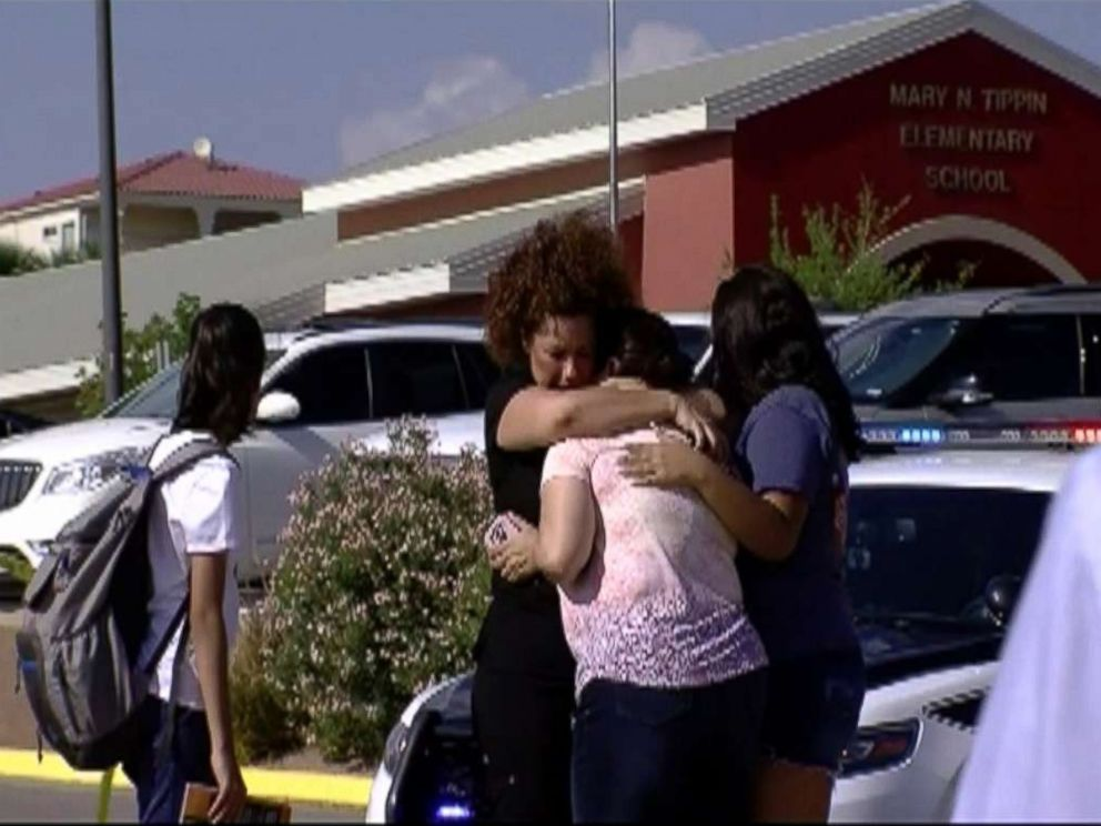 PHOTO: A mother was struck and killed by a car while trying to save students outside an elementary school in El Paso, Texas, Aug. 13, 2018.