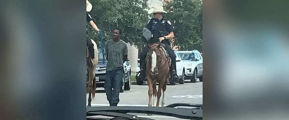 PHOTO: This photo of mounted police officers arresting Donald Neely in Galveston, Texas, on Aug. 3, 2019, caused an uproar in the community after it was posted to Facebook, prompting the Galveston Police Department to release an apology for the incident.