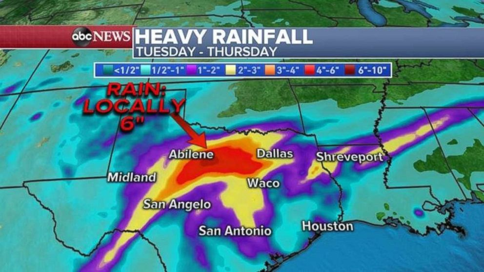 PHOTO: As much as 6 inches of rain could fall in central Texas.