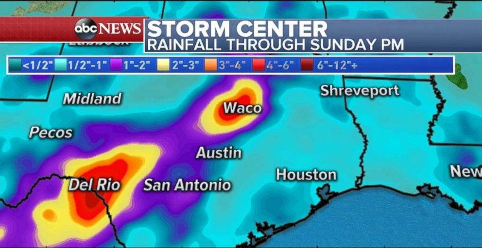 Rainfall will be especially high in central and western Texas through Sunday.
