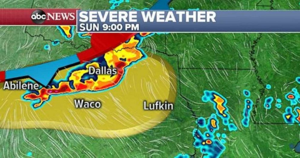PHOTO: Dallas and Waco, Texas, are at risk for severe weather on Sunday night.