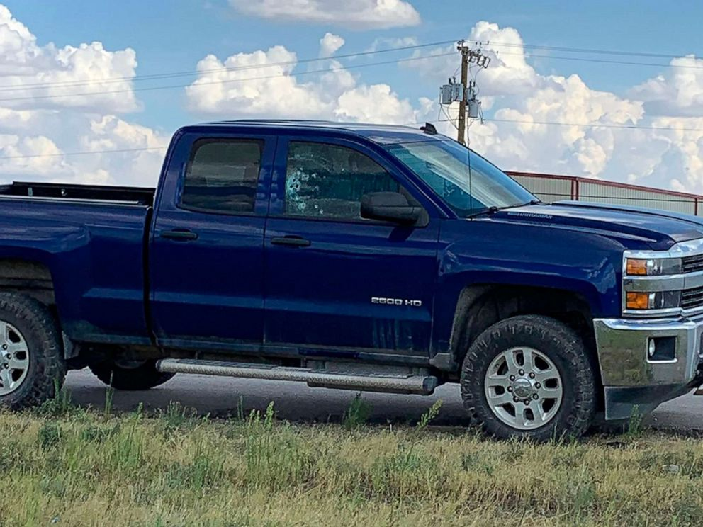 PHOTO: This handout image taken on Aug. 31, 2019, shows a car with bullet holes in the window after a gunman opened fire on the I-20 highway in between Odessa and Midland, Texas.