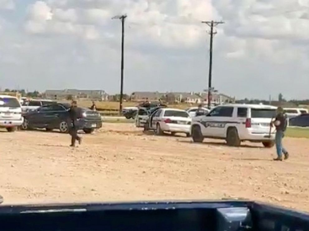 PHOTO: Police arrive at Cinergy Odessa cinema following a shooting in Odessa, Texas, in this still image taken from a social media video posted on Aug. 31, 2019.