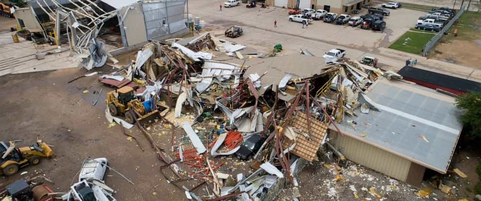 PHOTO: McCourt & Sons Equipment Inc. was destroyed by a tornado in La Grange, Texas, on Friday, May 3, 2019.