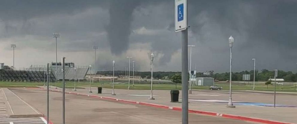 PHOTO: A tornado forms at Mabank High School in Rockwall, Texas, May 29, 2019.