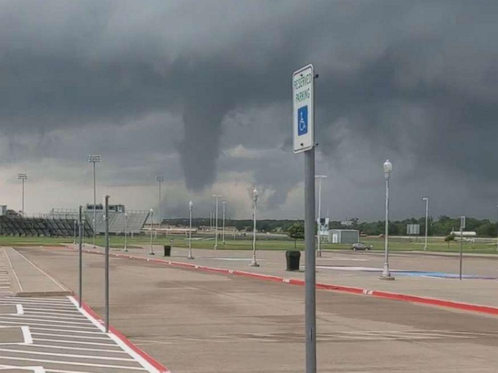 PHOTO: A tornado forms at Mabank High School in Rockwall, Texas, May 29, 2019.