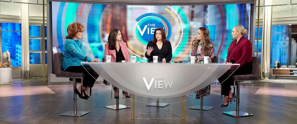 "PHOTO: ""The View"" co-hosts Joy Behar, Abby Huntsman, Ana Navarro, Sunny Hostin, and Meghan McCain discuss Facebooks ban of extremist leaders on Friday, May 3, 2019."