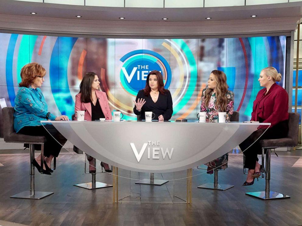 PHOTO: The View co-hosts Joy Behar, Abby Huntsman, Ana Navarro, Sunny Hostin, and Meghan McCain discuss Facebooks ban of extremist leaders on Friday, May 3, 2019.
