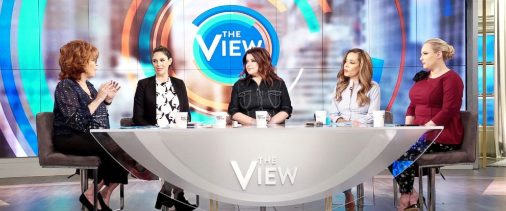"PHOTO: Joy Behar, Abby Huntaman, Ana Navarro, Sunny Hostin and Meghan McCain discuss if its acceptable to enjoy disgraced artists work on ""The View,"" March 12, 2019."