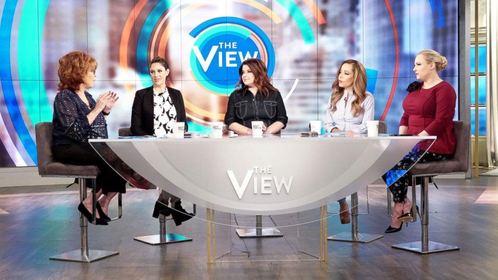 "Joy Behar, Abby Huntaman, Ana Navarro, Sunny Hostin and Meghan McCain discuss if it's acceptable to enjoy disgraced artists' work on ""The View,"" March 12, 2019."