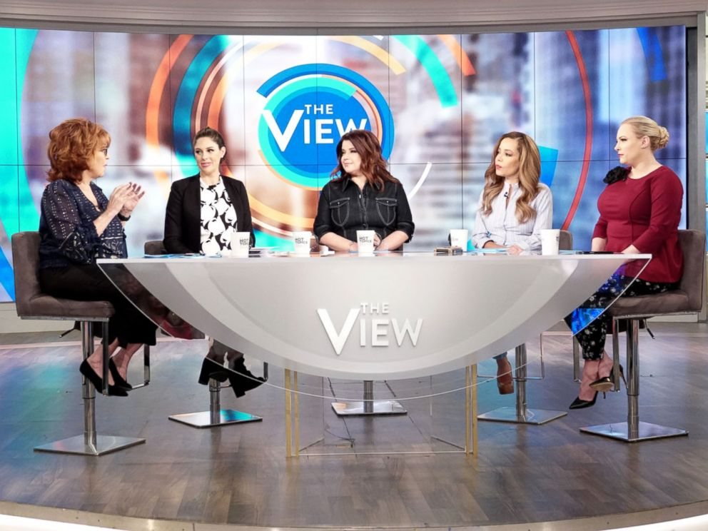 PHOTO: Joy Behar, Abby Huntaman, Ana Navarro, Sunny Hostin and Meghan McCain discuss if its acceptable to enjoy disgraced artists work on The View, March 12, 2019.