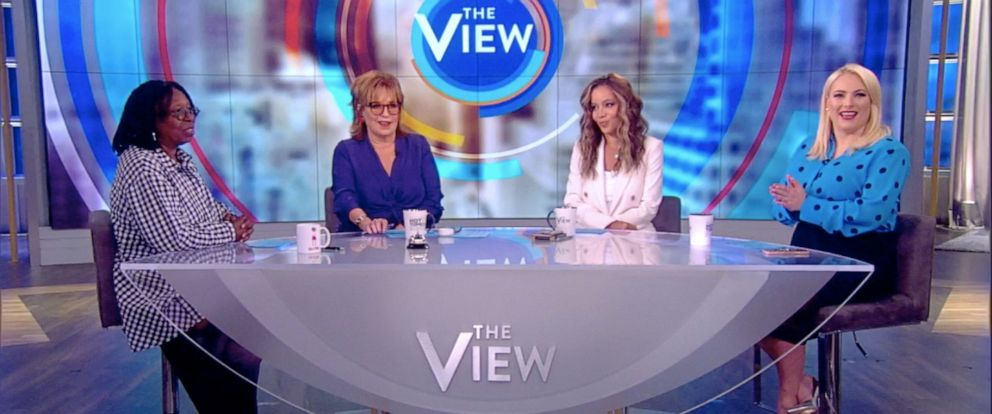 """PHOTO: """"The View"""" co-hosts Whoopi Goldberg, Joy Behar, Sunny Hostin, and Meghan McCain share their results from using an age-filter on their photos, July 17, 2019."""