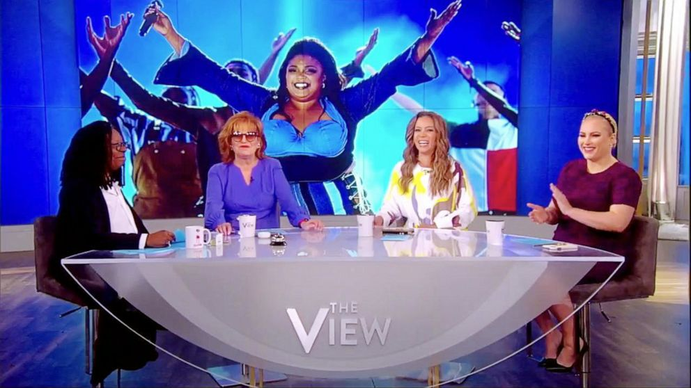 PHOTO: The View co-hosts Whoopi Goldberg, Joy Behar, Sunny Hostin, and Meghan McCain react to Lizzos homage to Sister Act 2 at the 2019 MTV Movie and TV Awards on the show Wednesday, June 19, 2019.