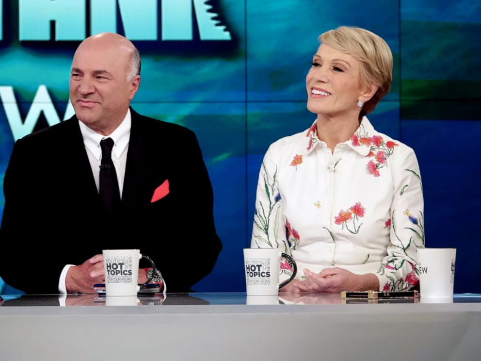 PHOTO: Shark Tank investors Kevin OLeary and Barbara Corcoran discuss Elizabeth Holmes on The View, April 11, 2019.