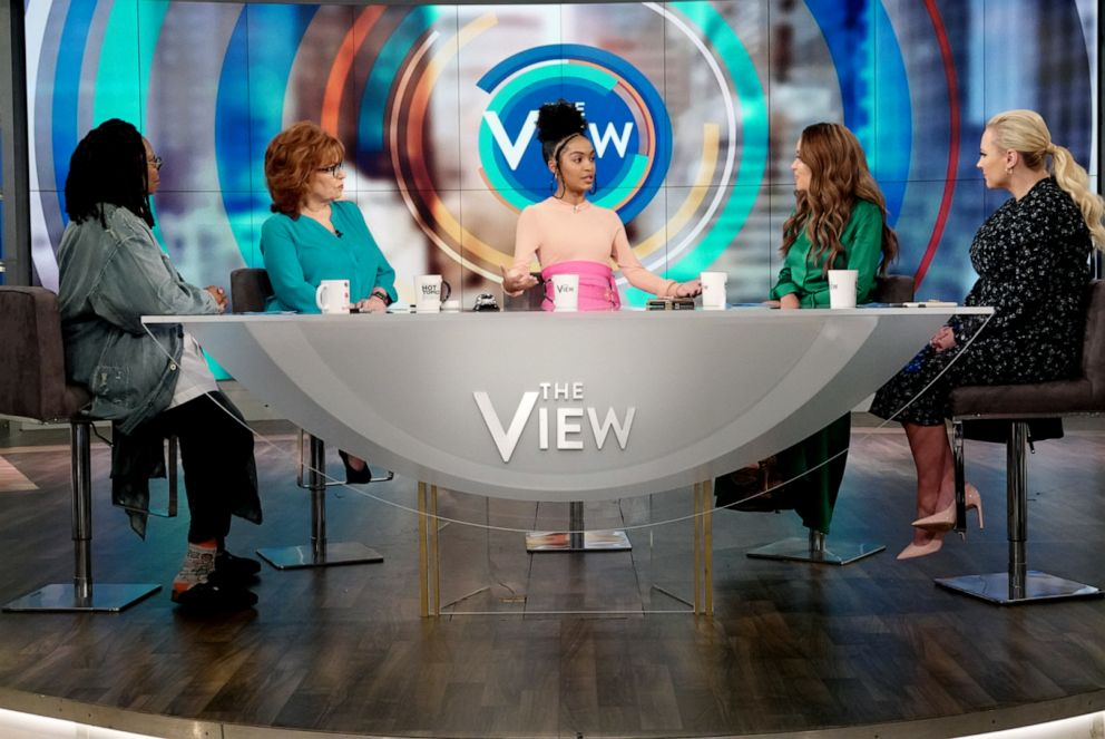PHOTO: Actress of The Sun is Also a Star Yara Shahidi sits with The View co-hosts Whoopi Goldberg, Joy Behar, Sunny Hostin, and Meghan McCain on Wednesday, May 15, 2019.